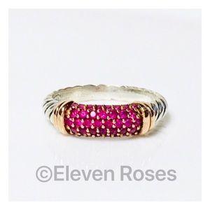 David Yurman 925 18k Rose Gold Pink Sapphire Ring